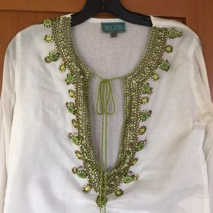 White Beaded Tunic with 3/4 sleeves
